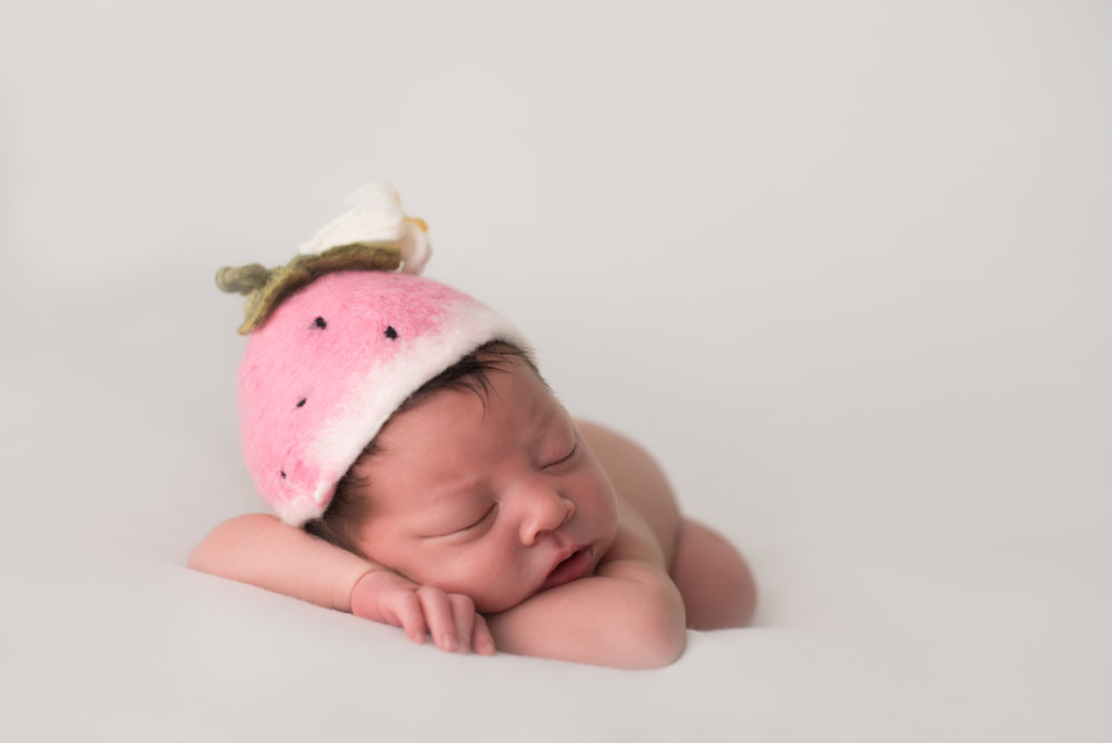 Strawberry bonnet by The Felted Attic Prop Shop, Backdrop by The House of Wang Fabrics