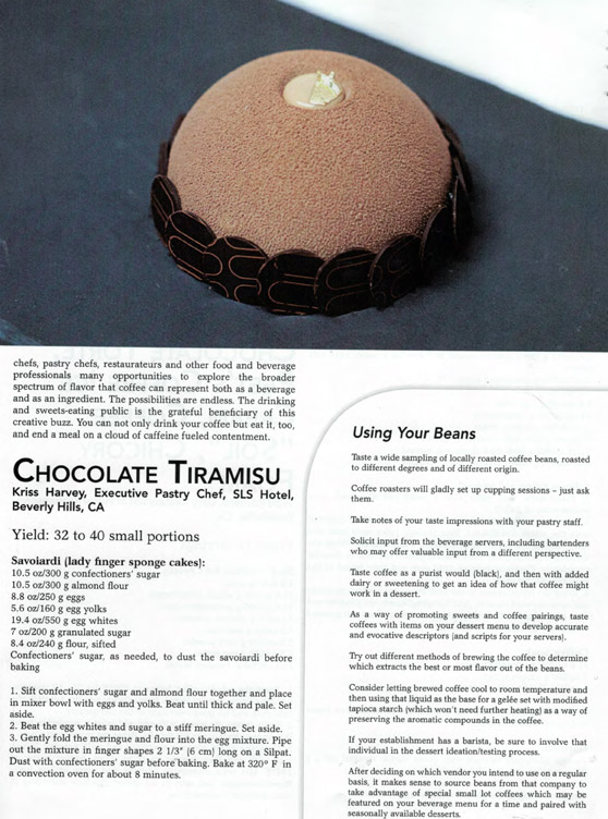 Photo of Executive Pastry Chef   of the SLS Hotel Beverly Hills, Kriss Harvey's Chocolate Tiramisu shown here as featured in Dessert Professional Magazine.