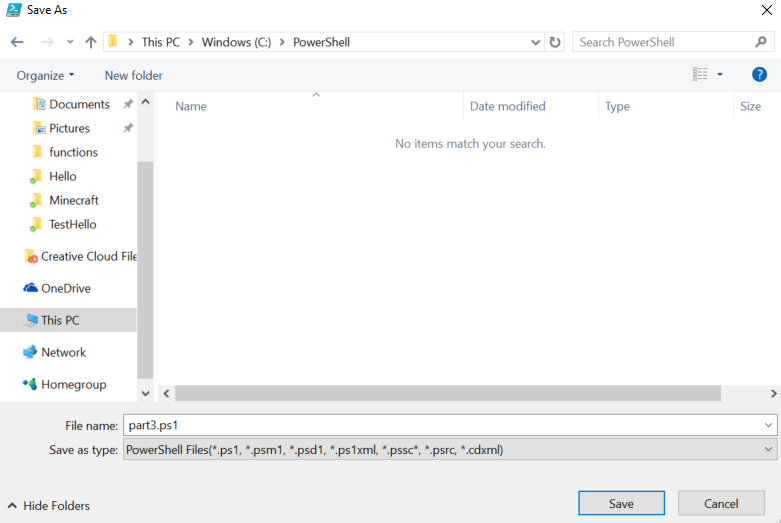 Powershell getting started using the ise and creating functions go file save as and save this script as cpowershellpart31 create the folder if it does not exist maxwellsz