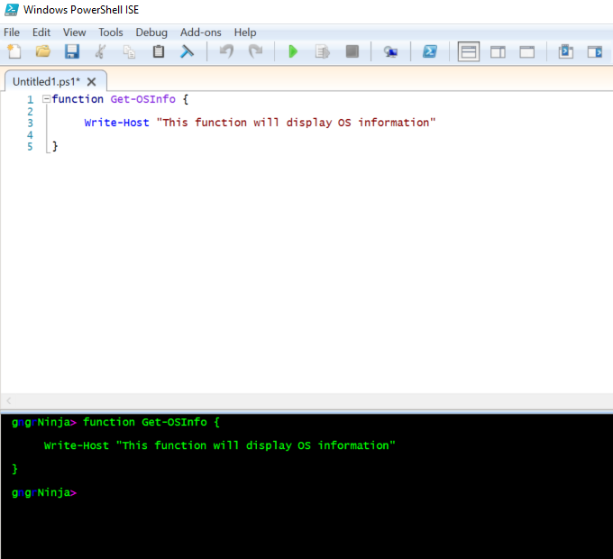 Powershell getting started using the ise and creating functions lets see the result maxwellsz