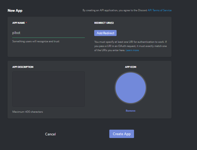 Python create a discord bot on your raspberry pi using discord give it a name and then click create app ccuart Gallery