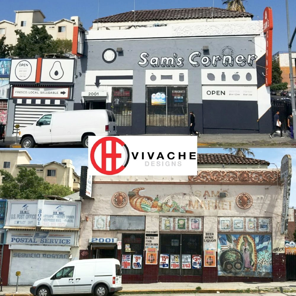 Vivache Designs is transforming old rundown dilapidated buildings and businesses by creating entirely new commercial building murals that look and feel New Fresh & Modern! Appealing to everyone, it will increases your business, attracts new customers, and builds community pride. Just take a look at the before and after pictures above of Sam's Corner.