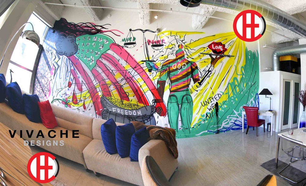 Mural Painter Vivache Designs one of a kind residential painted wall murals and commercial murals. Mural Artist Michael Che Romero did this mural design and painted this wall mural painting in the heart of Downtown Los Angeles DTLA on 6th & Spring St.