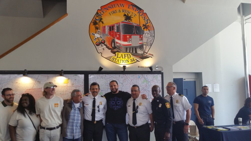 Vivache Designs Mural Painting for LAFD Fire Service Day Michael Che Romero & LAFD Staff.jpg