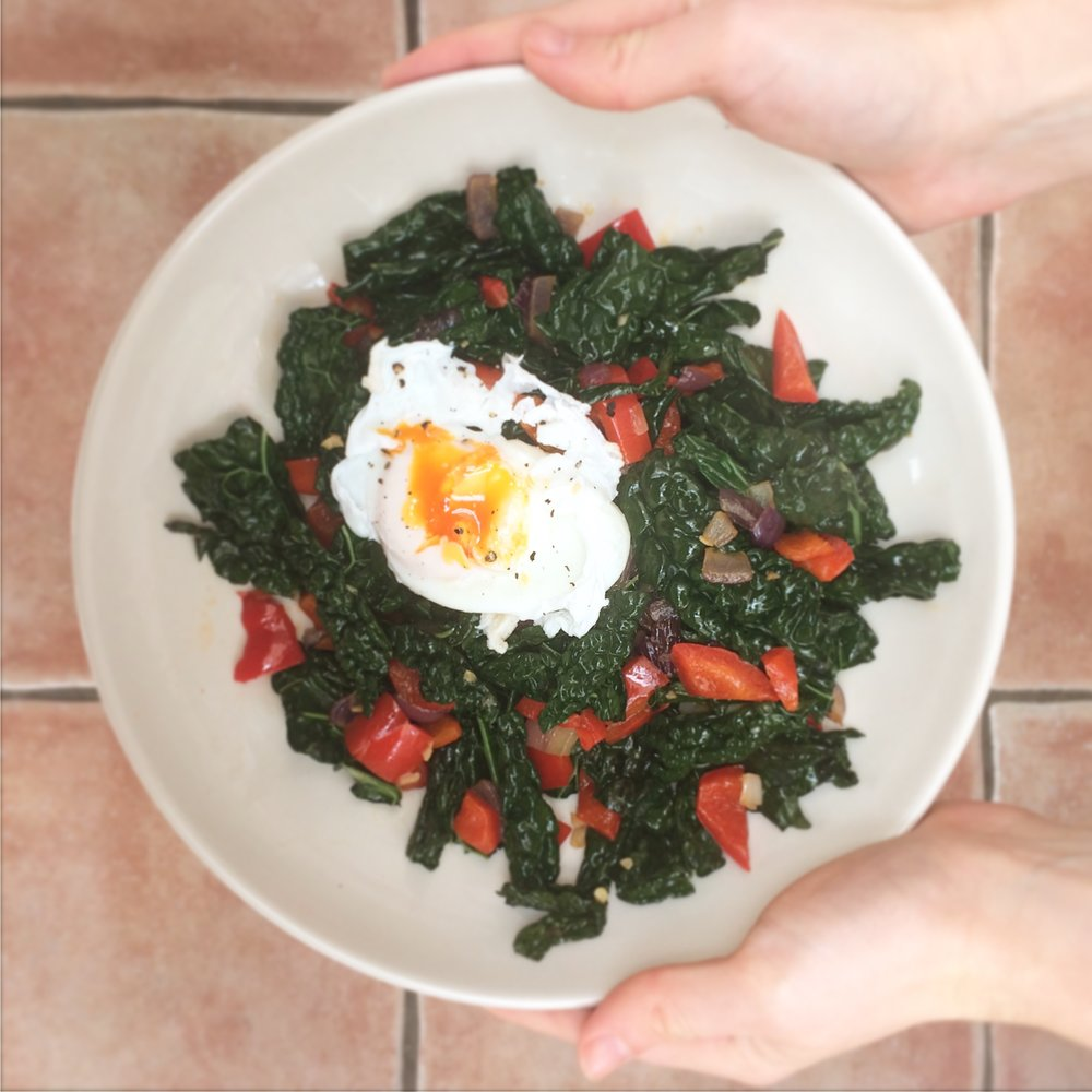 kale and poached egg weekend breakfast