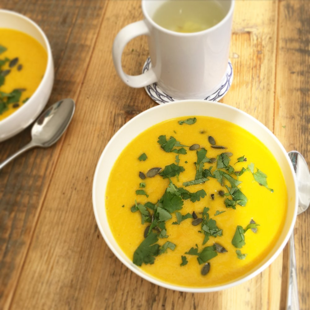 The Preggers Kitchen recipe for carrot and coriander soup