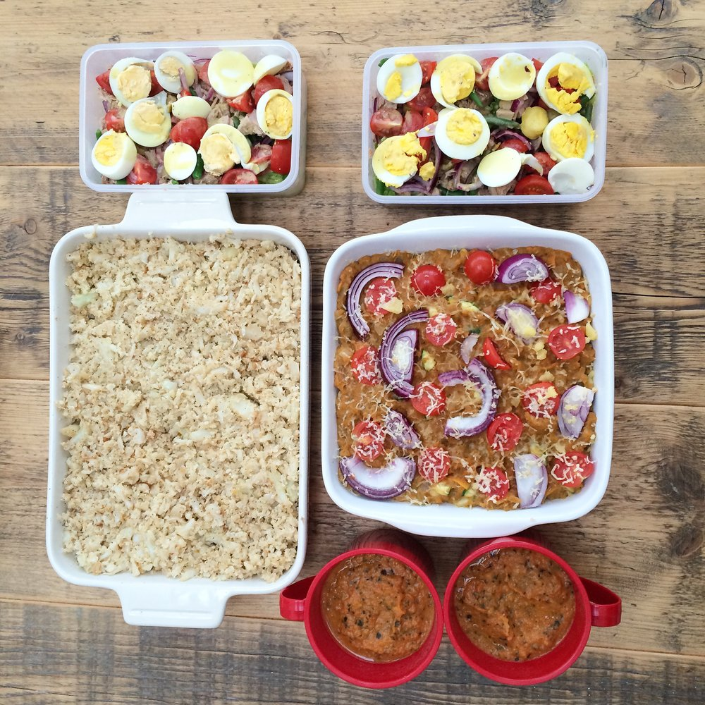 A bunch of lunches including the lentil bake (middle right)