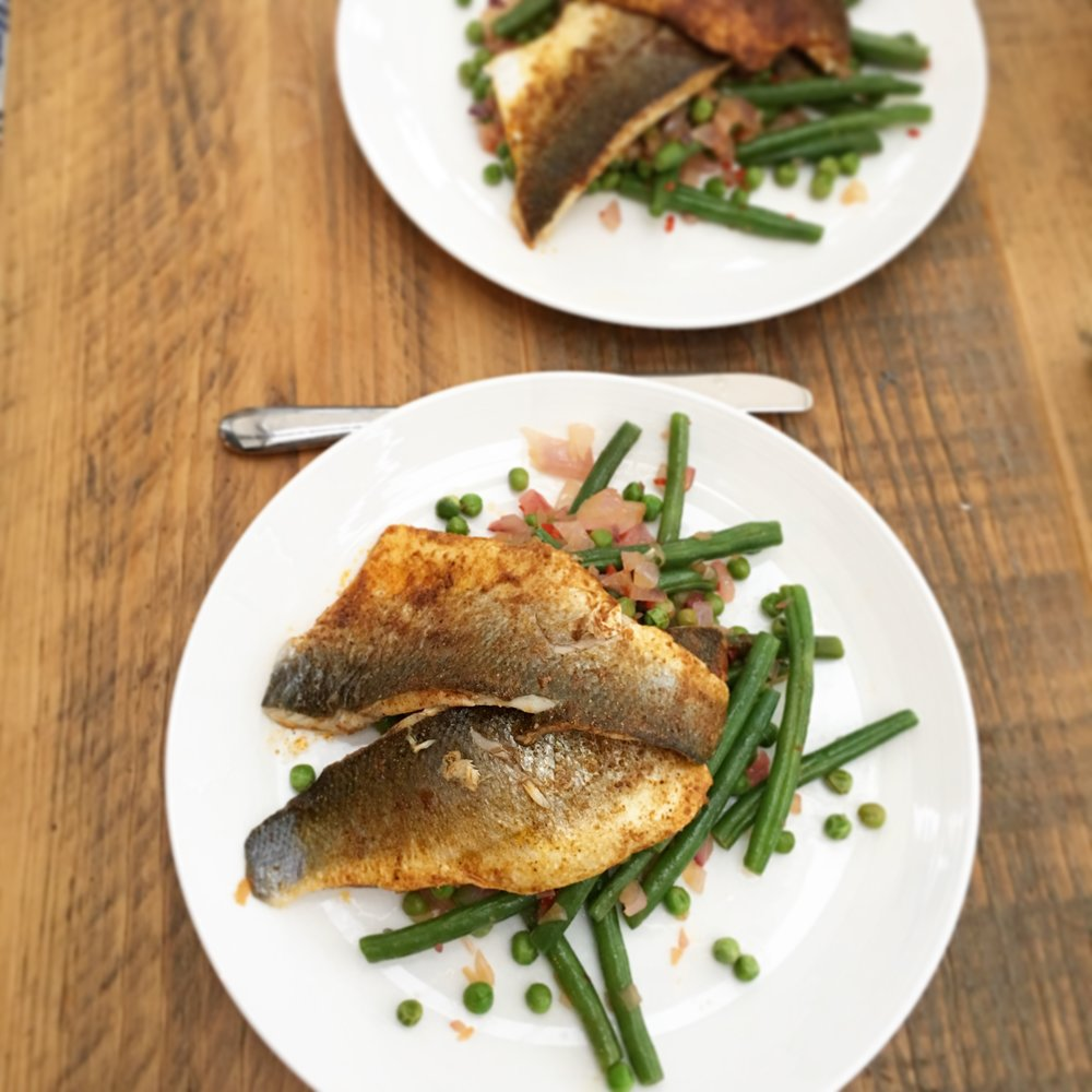 Crispy mackerel with green bean, pea and coconut salad