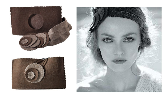 Bandeau -Vanessa Paradis Accessoire bandeau de John Nollet réalisé par Bilitis Poirier pour Vanessa Paradis en 2003 - Catalogue La Redoute - Photo Dominique Issermann.