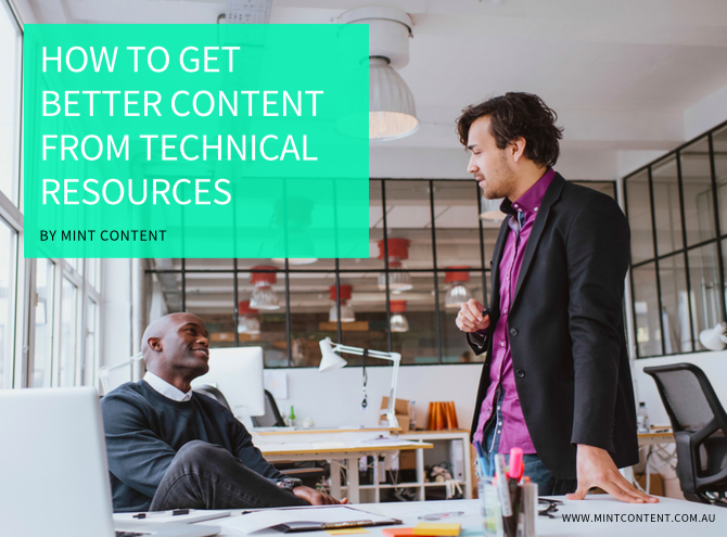 COVER IMAGE OF SLIDE PRESENTATION ABOUT GETTING BETTER CONTENT FROM TECH RESOURCES