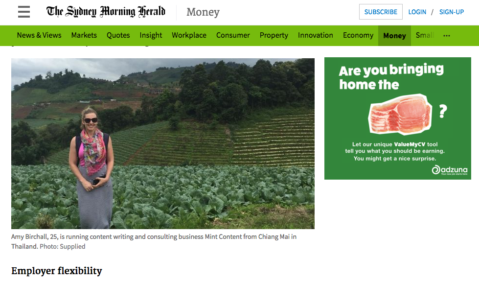 Screenshot of Sydney Morning Herald news story featuring Amy Birchall from Mint Content