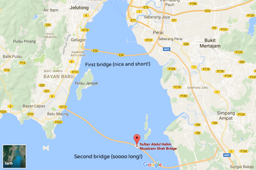 Map of the two Penang bridges connecting to the mainland