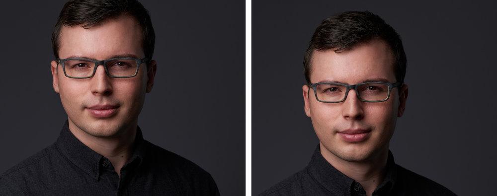 Die höhere Positionierung der Augen im linken Bild unterstreicht den selbstbewussten Gesichtsausdruck. Die Positionierung im rechten Bild wirkt dem entgegen.