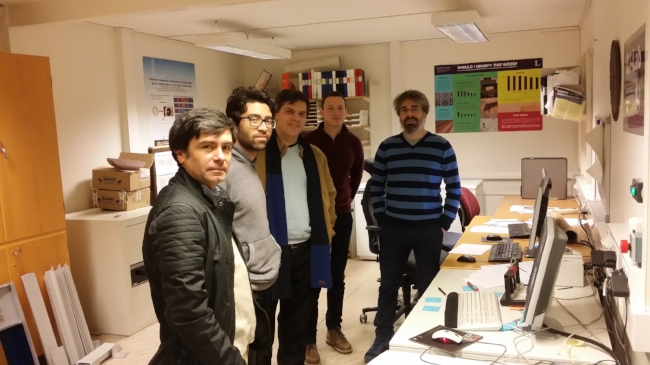 Von links: Salvador Morales und Ariel Inzunza Selpúlveda von TSST Chile, Diego Elustondo von Alent Dynamic®, Ahec Ambroz und José Couceiro von LTU Skellefteå.