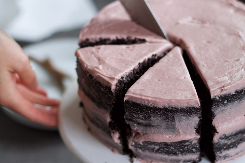 Red Wine Chocolate Cake With Blackberry Frosting