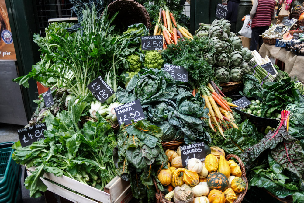 Piles of fresh produce at the Borough Market