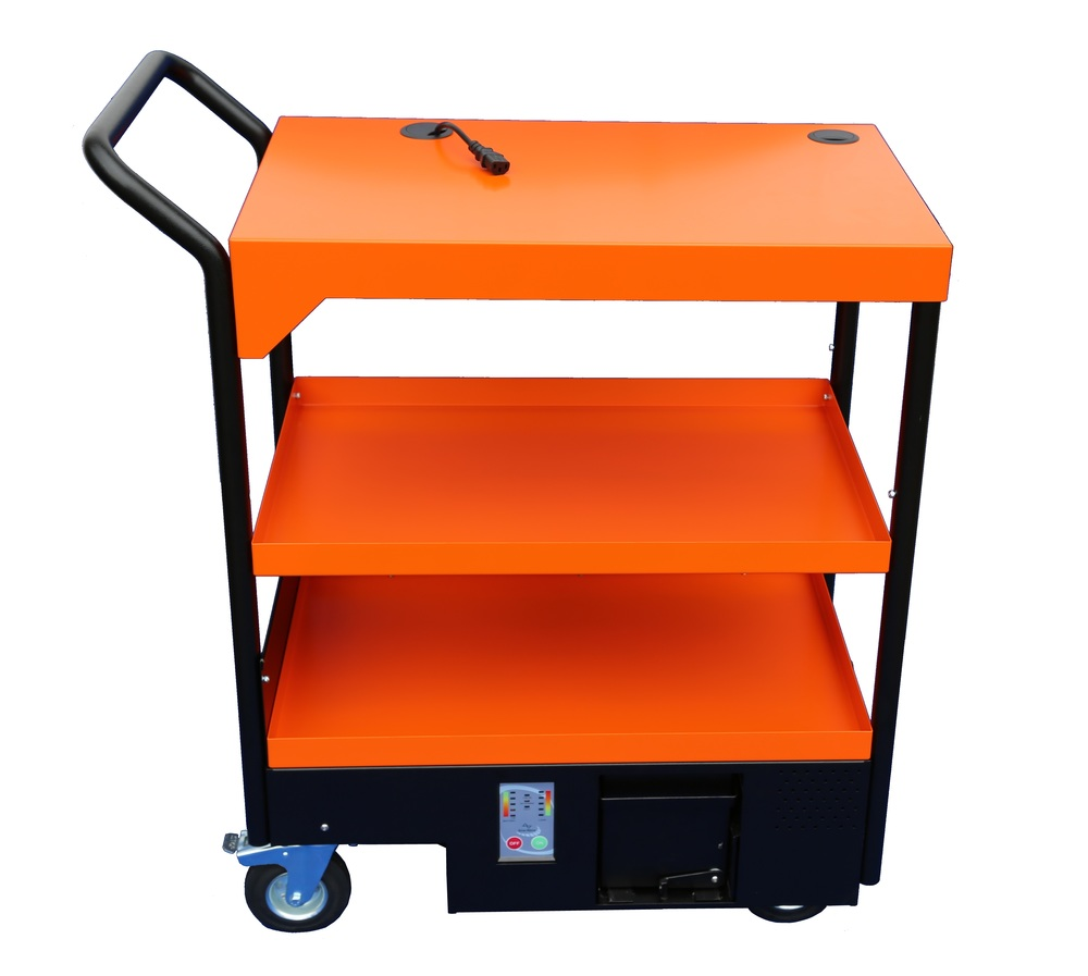 Mobile Work Station - the MWS1000 in burnt orange with middle shelf fitted