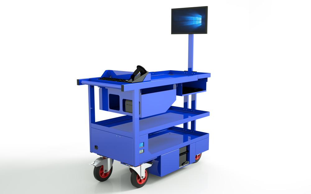 Computers on Wheels - Our Mobile Picking Station MPS2000 in steel blue