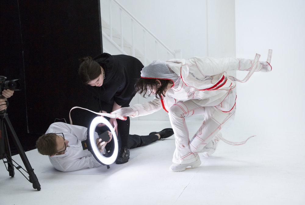 Nick Knight shooting Kanghyuk Collection 1 at SHOWstudio, model David Yang | KANGHYUK x MACHINE-A / SHOWstudio x H. LORENZO special collaboration, in partnership with D /ARK /CONCEPT