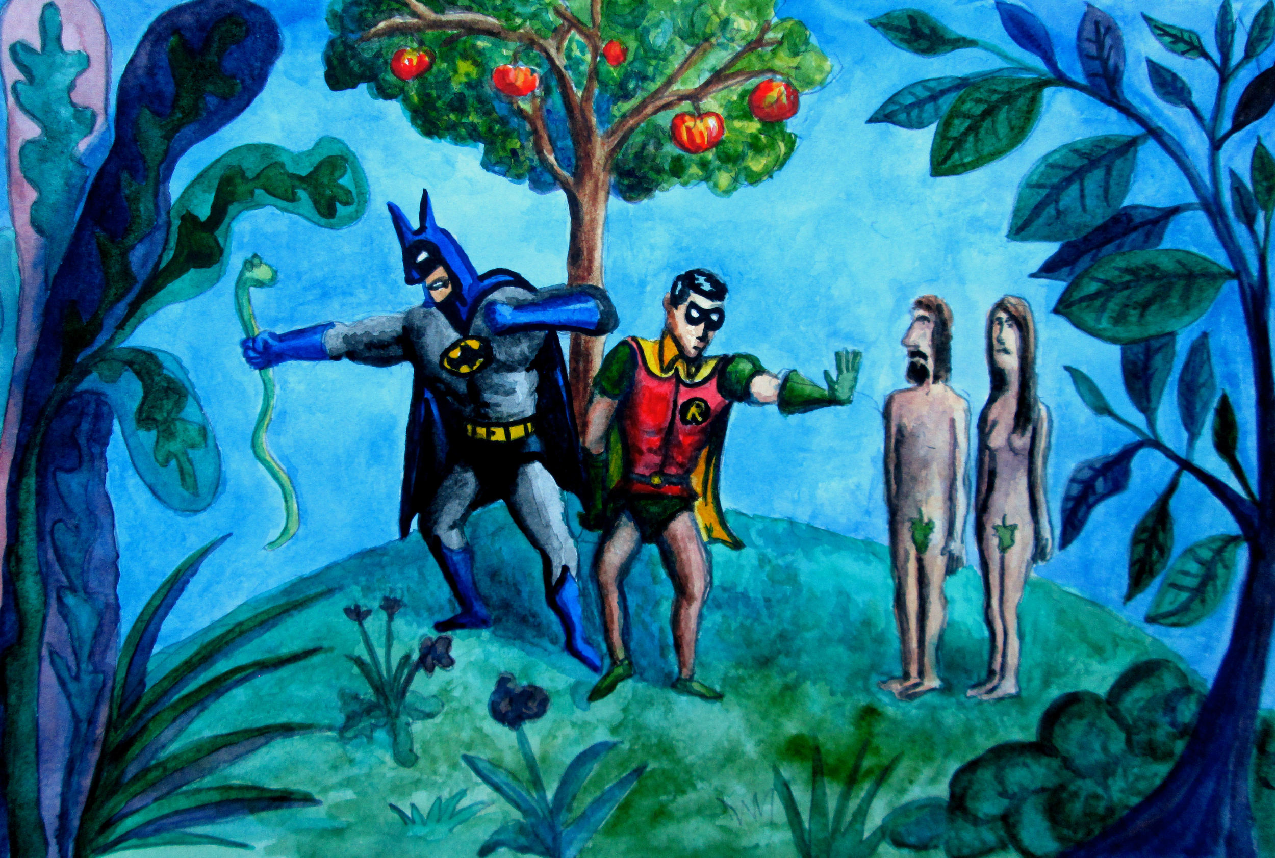 Batman and Robin in the Garden of Eden