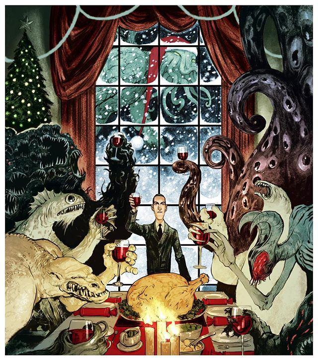 Christmas at H.P. Lovecraft's place. Card design from a few xmases back for Graphic Classics, who produce comic book anthologies of lit greats. #christmas #christmascard #lovecraft #hplovecraft #cthulu #deepone #ghast #nightgaunt #shoggoth #graphicclassics #oldgods #horrorillustration #yalit #yabooks