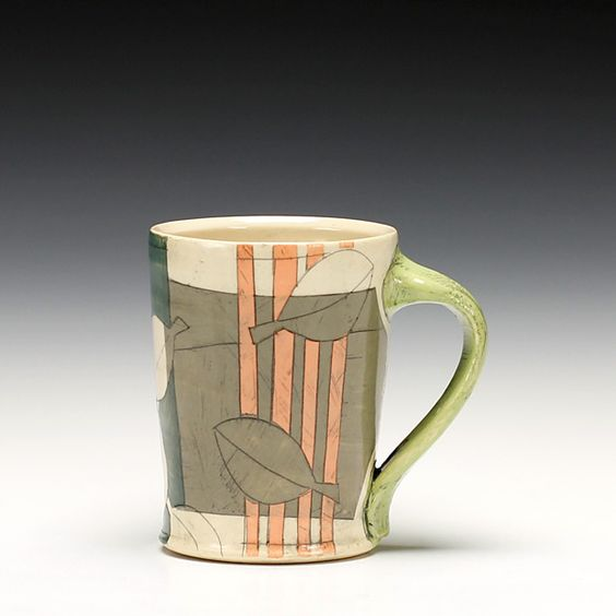 Krisitn Schoonover - Asheville, NC.  Colorfully patterned wheel-thrown & altered stoneware.