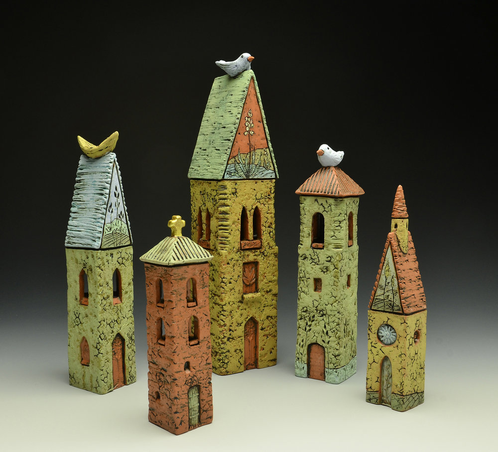 Ed Byers & Holden McCurry - Asheville, NC.  Uniquely handcrafted ceramic prayer towers.