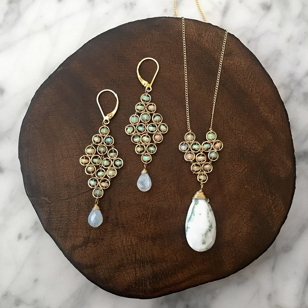 Michelle Pressler - Philadelphia, PA.  Hand-cut stones, sterling silver, & gold-filled earrings, necklaces, & bracelets.
