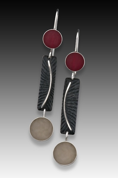 Eileen Sutton - Havertown, PA.  Colorful epoxy resin, sterling silver, & gold earrings, necklaces, & pins.