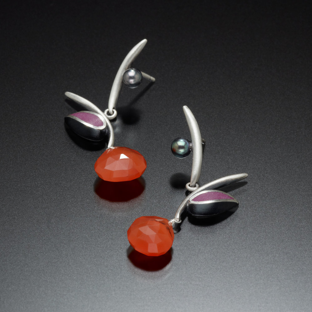 Kinzig Design - San Francisco, CA.  Colorful polymer clay & stones set in sterling silver designs.