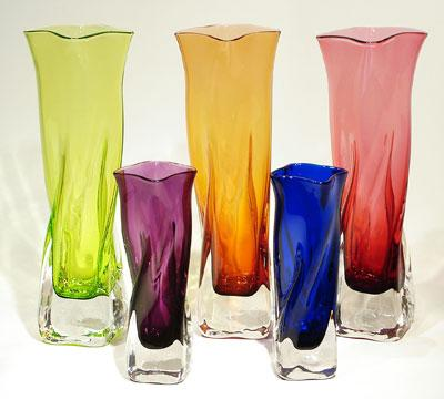 Janet Zug - Turnbridge, VT.  Colorful hand-blown standing & hanging glass vases.