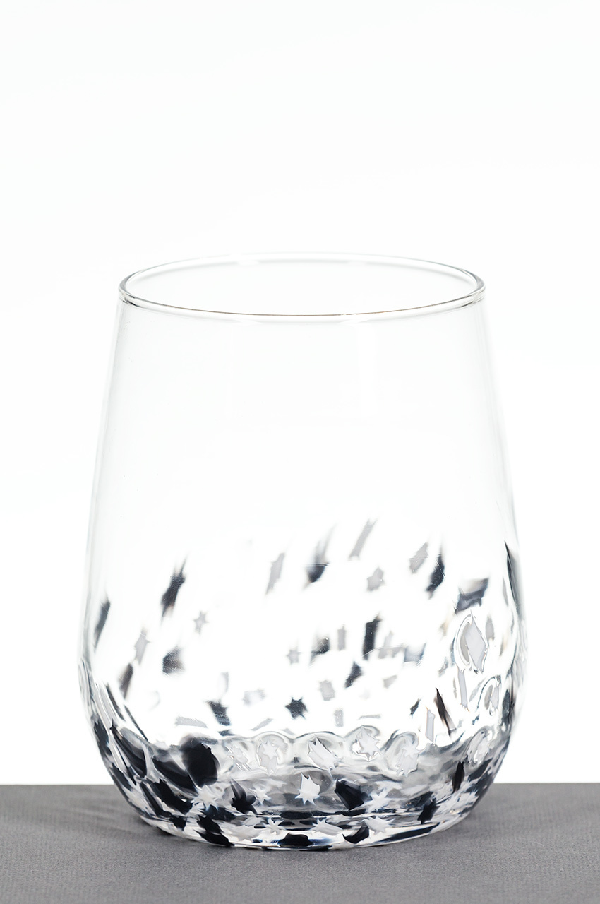 Baigelman Glass - Chicago, IL.  Stemless wine glasses , carafes, & ornaments with colorful star pieces.