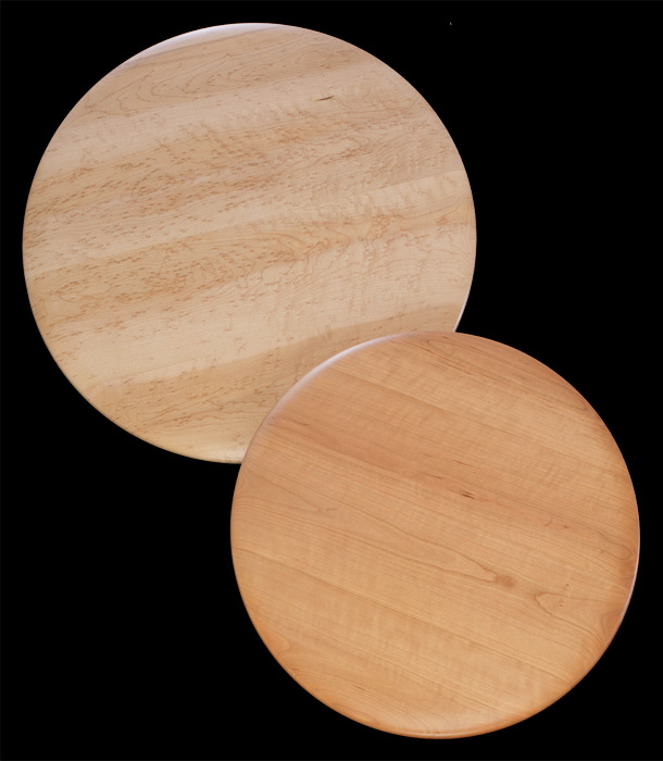 """Edward Wohl - Ridgeway, WI.  Curly maple cutting boards & lazy susan with exceptional """"birds eye"""" patterns. These unique pieces are dense & sturdy, meant for everyday use."""