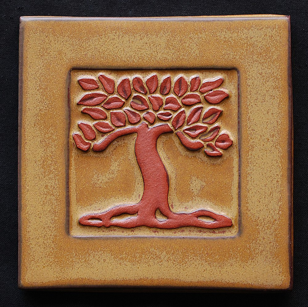 Asheville Tileworks - Asheville, NC.  Arts & Crafts styled contemporary ceramic tiles of red clay & neutral colors.