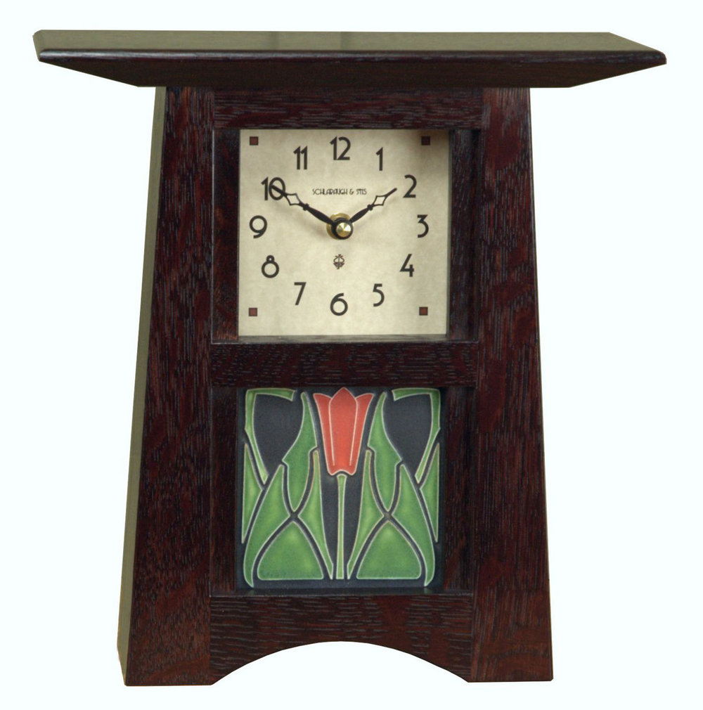 Schlabaugh & Sons - Kalona, IA.  Wooden clocks of Mission & Arts & Crafts styles using Motawi Tileworks tiles.
