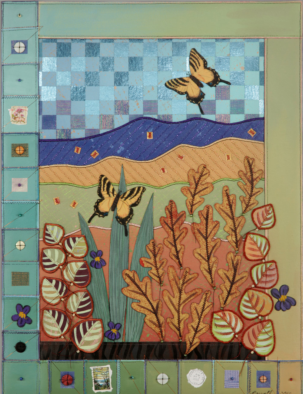 Bernie Rowell - Chandler, NC.  Textured, hand-painted quilts framed for home decor.