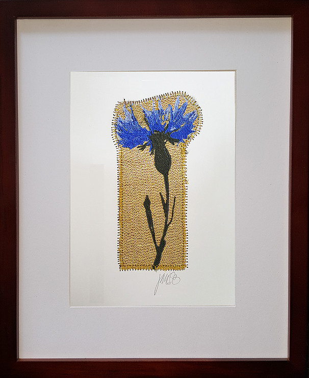 Jean Ferlesch - Brooklyn, NY.  Colorful embroidery framed for home decor.
