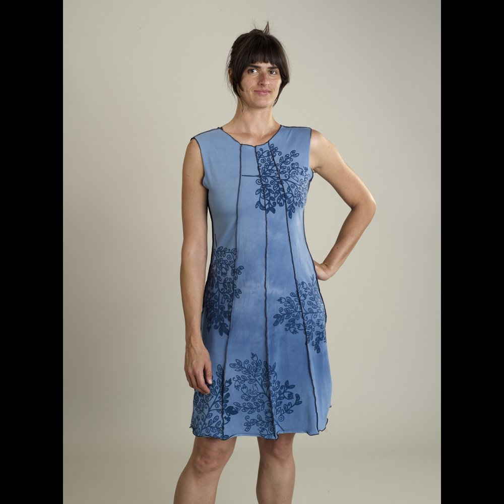 Jude Stuecker - Asheville, NC.  Hand-dyed, stamped, & sewn dresses, skirts, tunics, & tops.