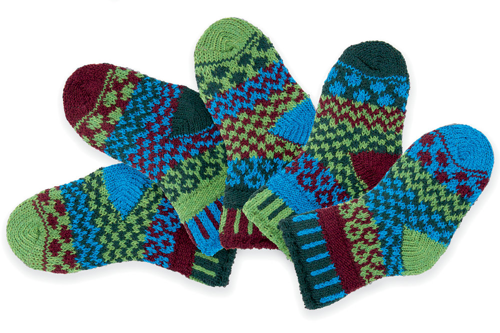 Solmate Socks - Hickory, NC.  Colorful adult & children socks, hats, scarves, & fingerless gloves knit from recycled cotton.