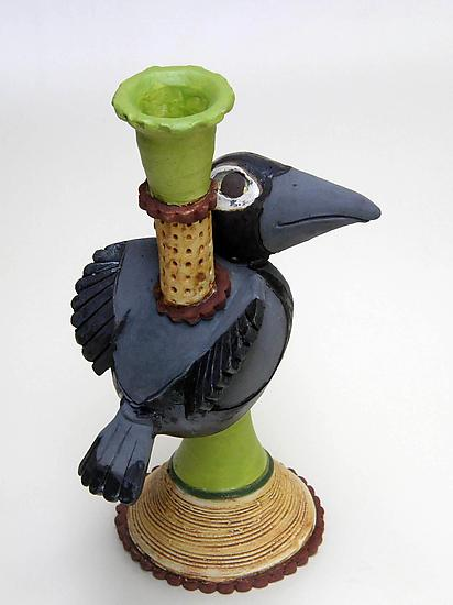 Amy Goldstein-Rice - Spartanburg, SC.  Hand-thrown, carved, & painted ceramic sculptures & candle holders incorporating mythical & magical characters.