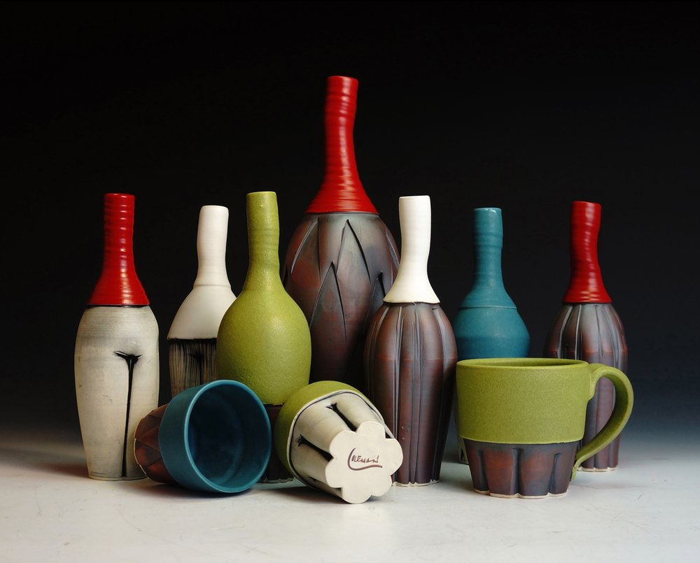 Ed & Kate Coleman - Swannanoa, NC.  Colorfully whimsical tiles, vases, & mugs.