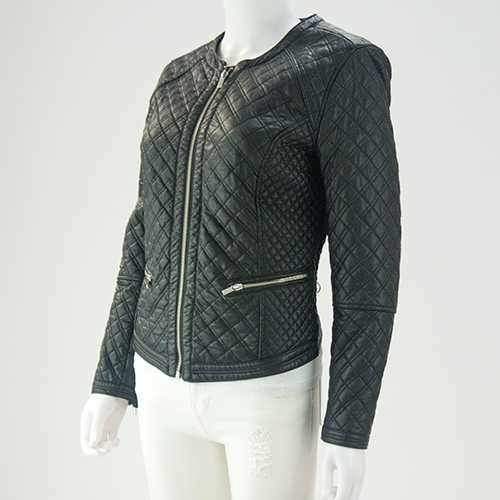 Faux leather quilted biker jacket. Size UK 14 — fertha : leather quilted biker jacket - Adamdwight.com