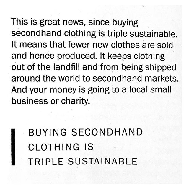 So good we had to read it twice....feeling good about being 'Triple Sustainable' ♻️Thanks @fash_rev for creating such a great read with your 'Loved Clothes Last' and thanks @rawniecally for introducing us to it!  #fashionrevolution #lovedclotheslast #sustainable #sustainablefashion #secondhand #secondhandclothes #recycle #thrift #secindhandfirst