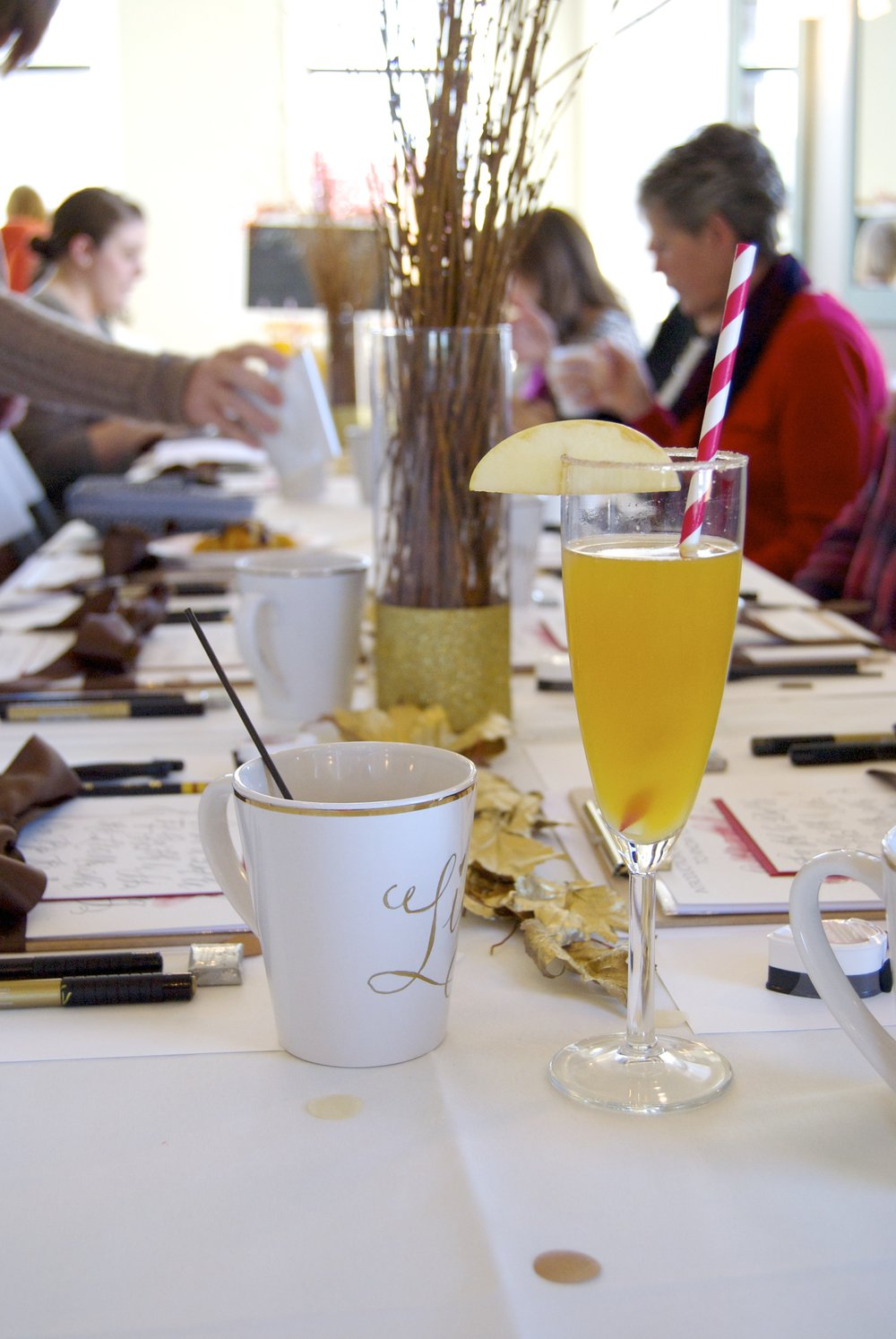 Workshop Table with Mimosas and Coffee