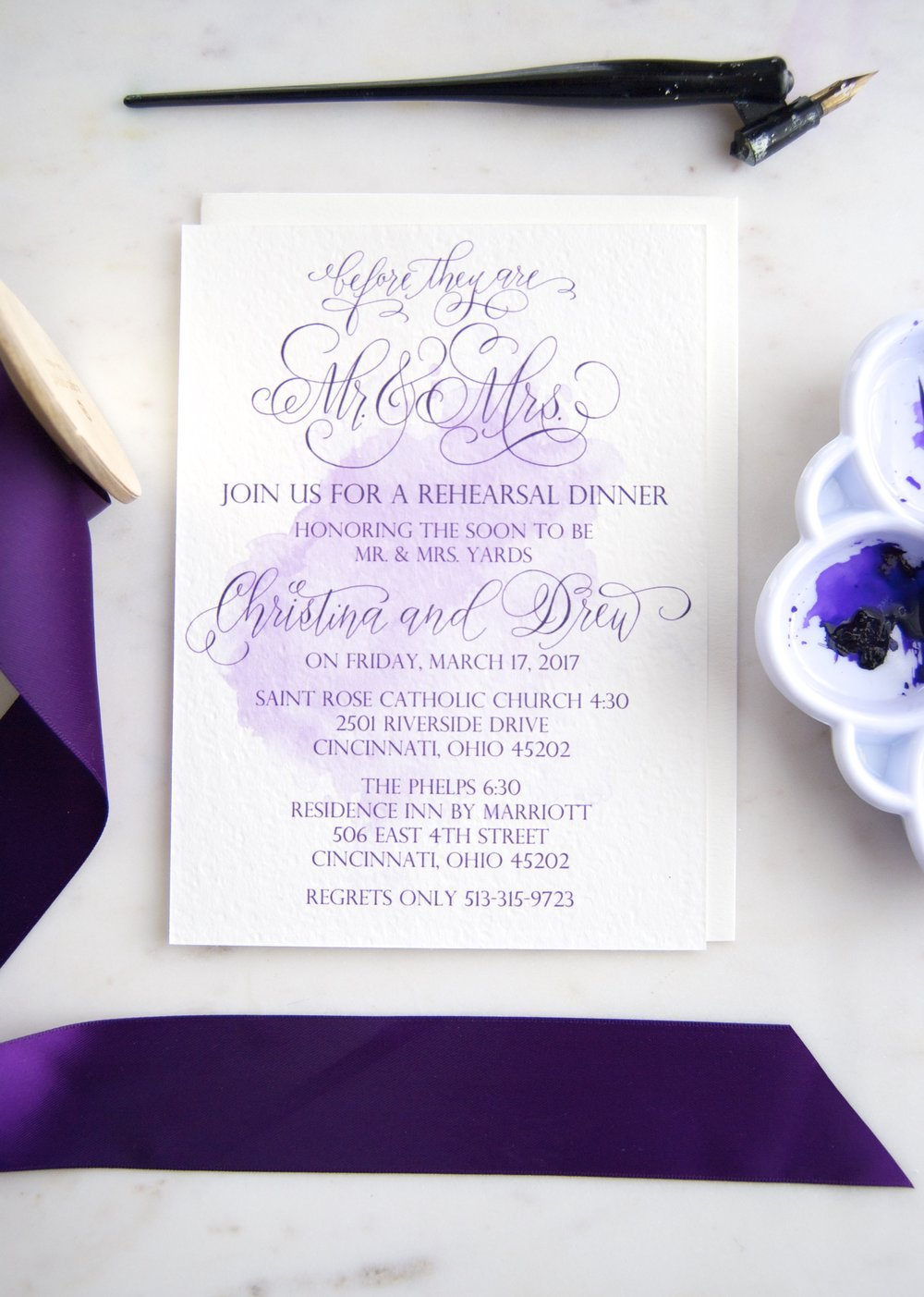 Plum Watercolor Rehearsal Invitation Erica Hammer Calligraphy