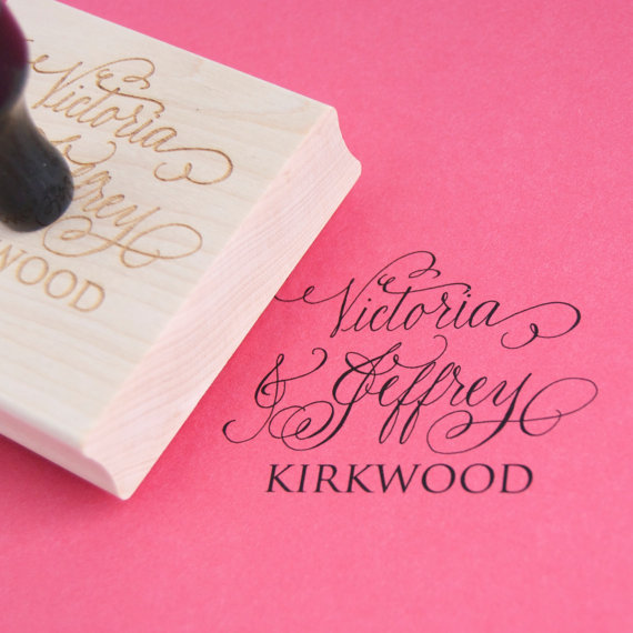 Custom Stamp for Wedding Stationery. Bride and Groom's names hand written and engraved