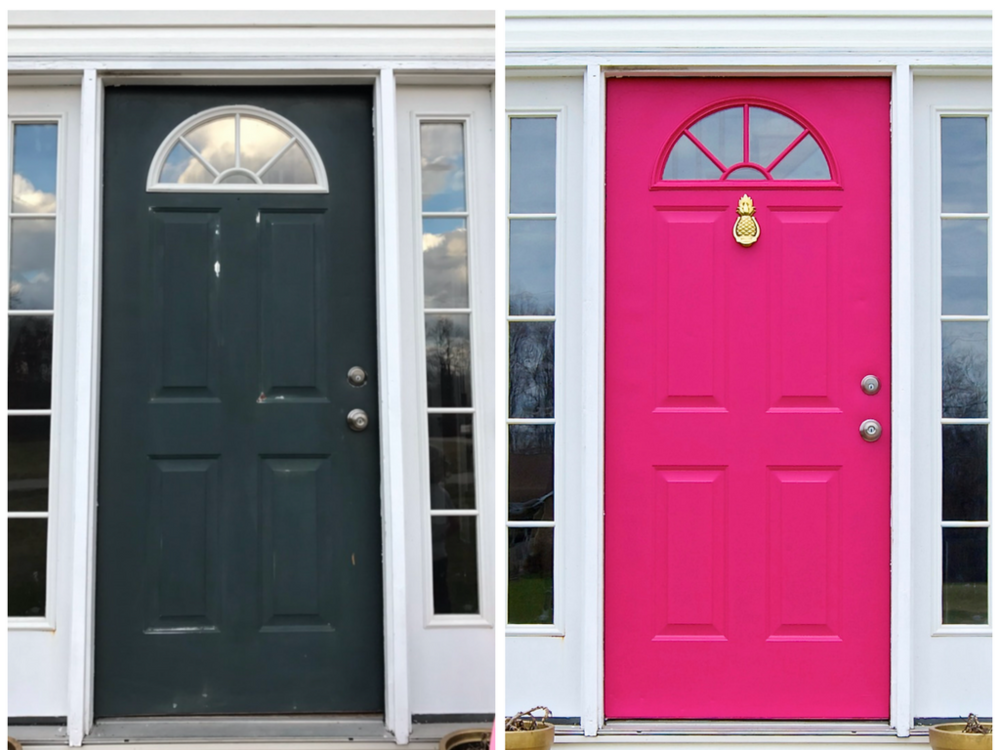 Painted front door before and after. Hunter Green to Pagoda Pink by Behr!