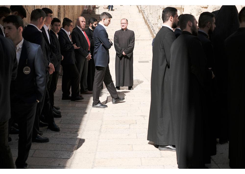 Greek Orthodox taking a step