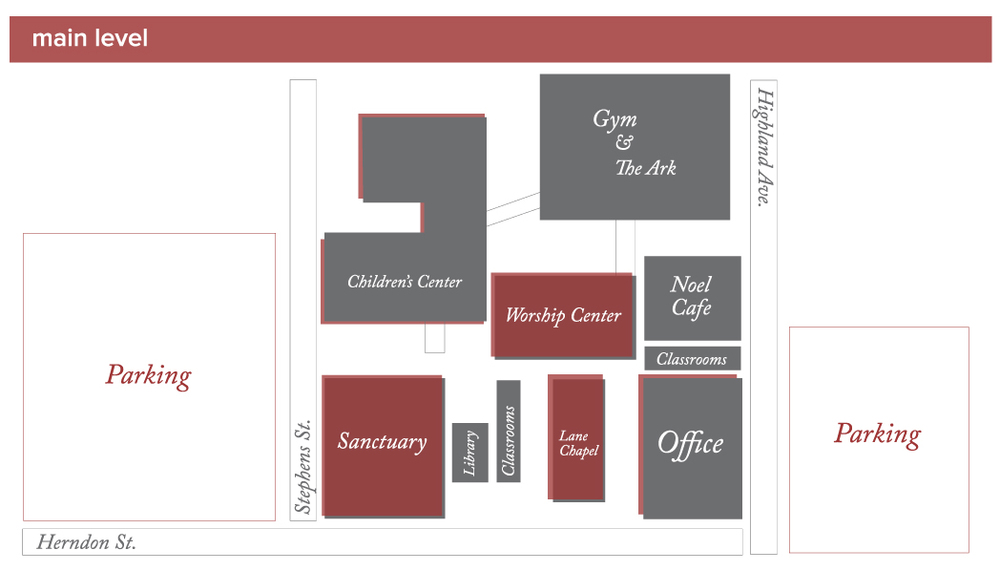 Stop by the office and/or follow the signage around the church grounds to locate rooms on the lower and upper levels of Noel's campus.