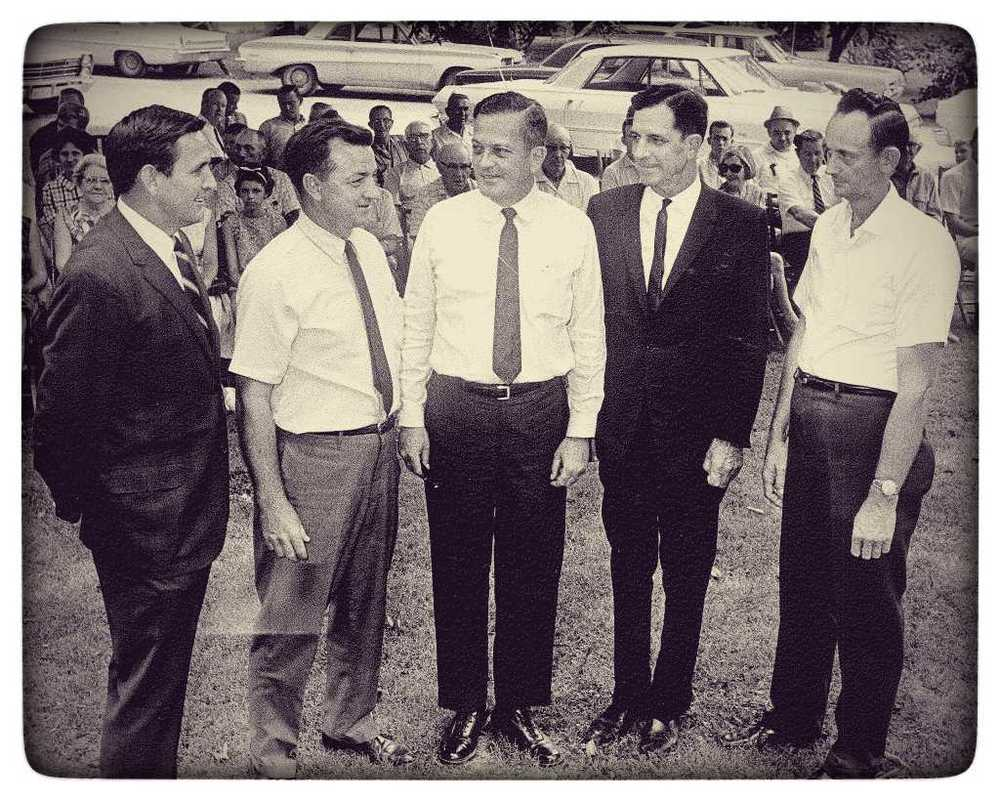 Joel B. Spaulding, Sr. (left) at the founding of the Nolensville / College Grove Utility District. Circa 1970.